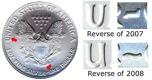 2008-W American Silver Eagle Reverse of 2007